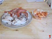 Lessare calamari, gamberetti, cozze, mazzancolle