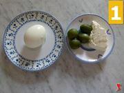 uova sode, philadelphia, olive verdi