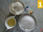 lievito, olio, zucchero e farina