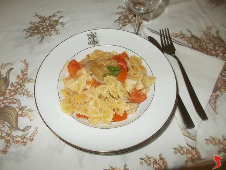La pasta con pesce spada e melanzane