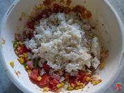 aggiungere il riso al condimento