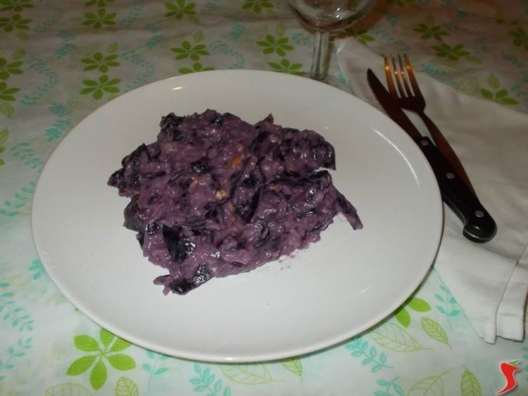 Il risotto con il radicchio e la scamorza
