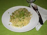 Gli spaghetti con i piselli