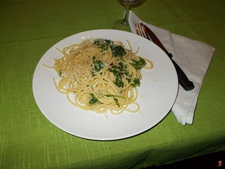 Gli spaghetti con la rucola