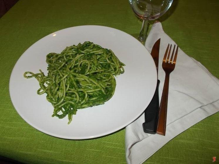Gli spaghetti con gli spinaci