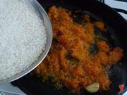 aggiungere il riso alla zucca