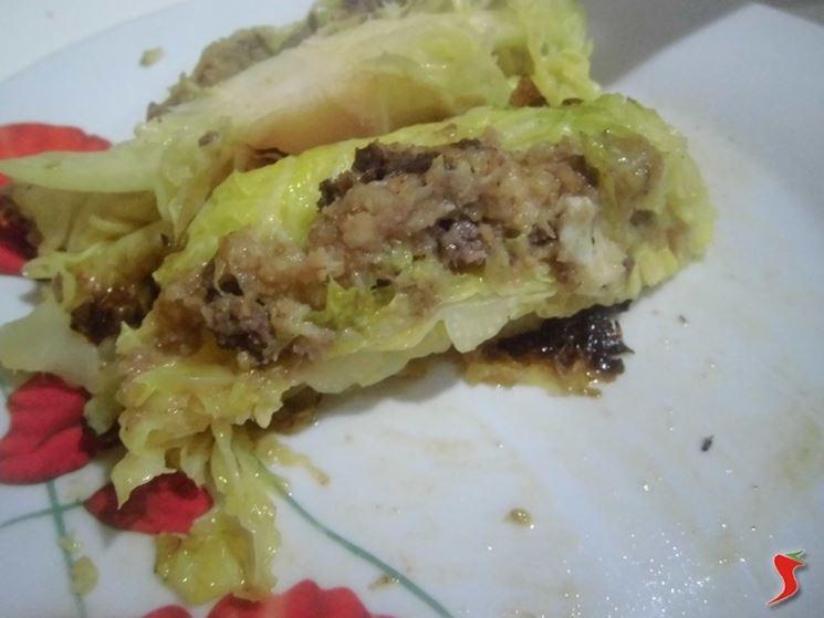 Verza ripiena con carne e patate
