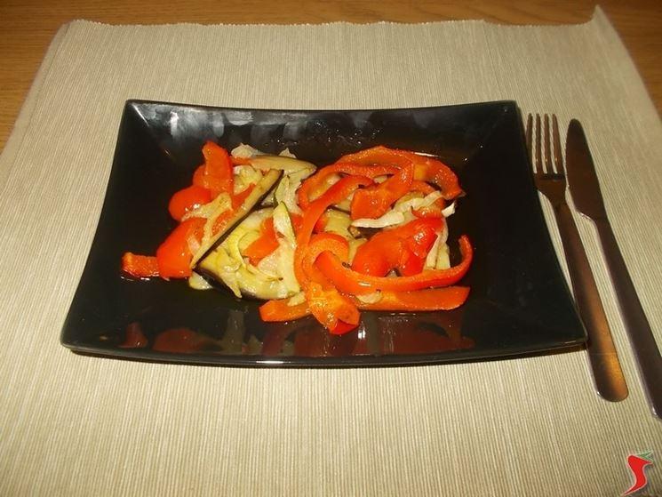 Peperoni, zucchine e melanzane