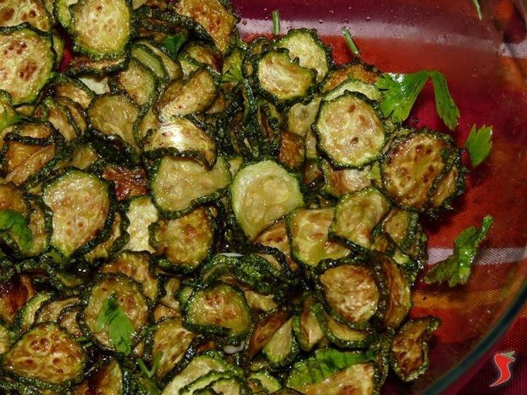 zucchine condite con la marinata